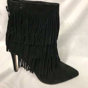 Steve Madden leather boot black suede new